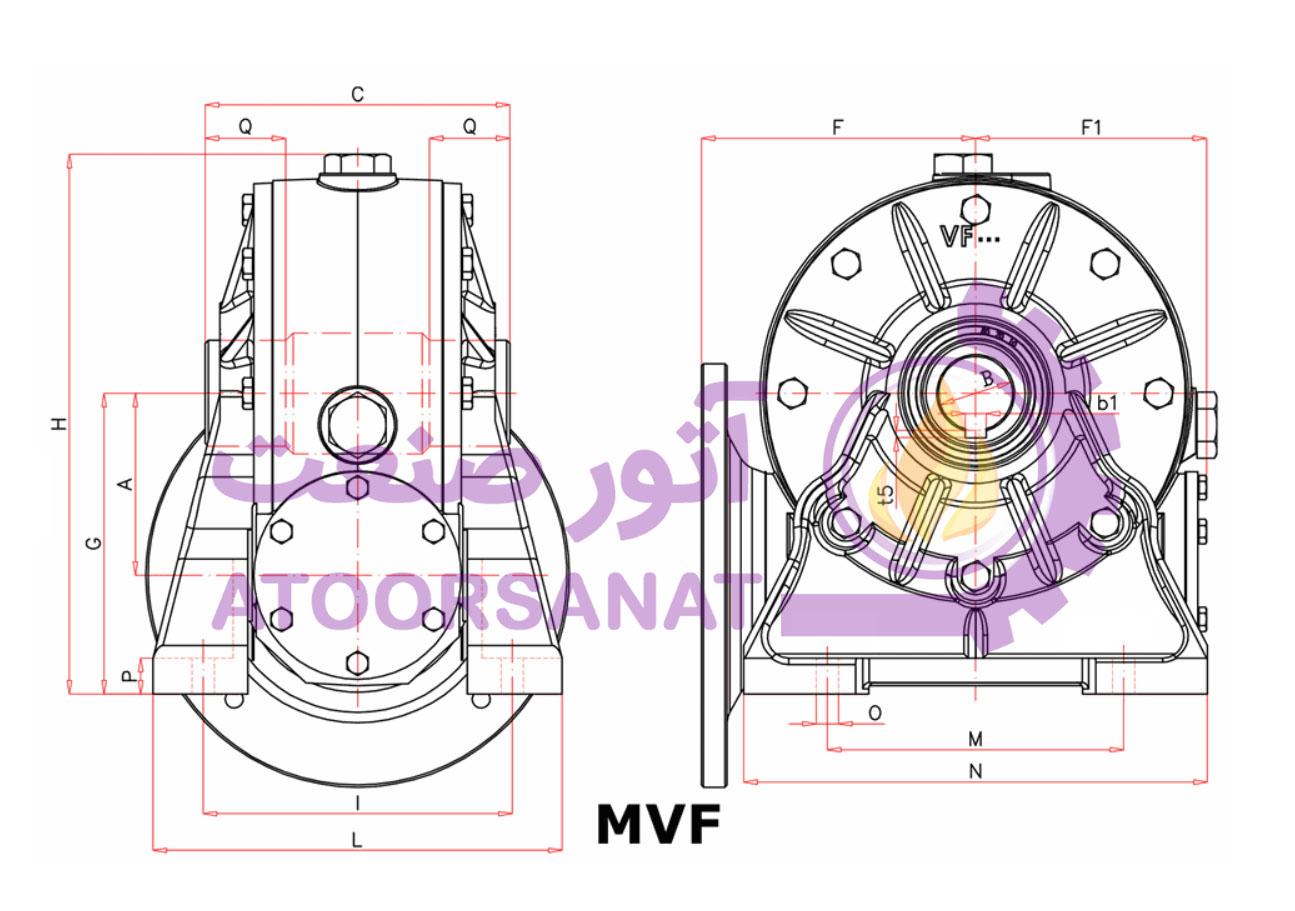 گیربکس حلزونی MVF